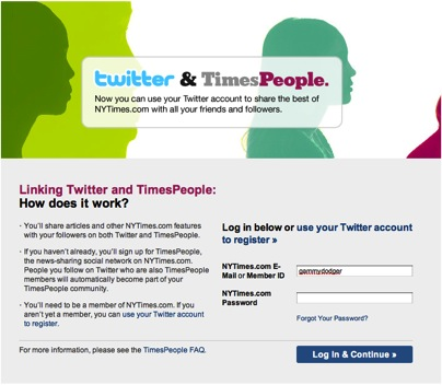 Login Screen for NY Times (Twitter Connect)